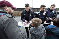 Burnley players stop to sign autographs for the waiting fans as they arrive at Turf Moor ahead of kick-off,  <br /> <br /> Photographer Rich Linley/CameraSport<br /> <br /> The Premier League - Burnley v Everton - Wednesday 26th December 2018 - Turf Moor - Burnley<br /> <br /> World Copyright &copy; 2018 CameraSport. All rights reserved. 43 Linden Ave. Countesthorpe. Leicester. England. LE8 5PG - Tel: +44 (0) 116 277 4147 - admin@camerasport.com - www.camerasport.com