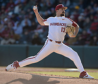 Arkansas starter Connor Noland delivers to the plate Friday, Feb. 14, 2020, during the sixth inning against Eastern Illinois at Baum-Walker Stadium in Fayetteville. Visit nwaonline.com/200214Daily/ for today's photo gallery.<br /> (NWA Democrat-Gazette/Andy Shupe)