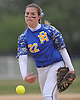 Kelsey Leonard #22, East Meadow pitcher, delivers to the plate in the top of the second inning of Game 2 of the Nassau County varsity softball Class AA semifinals against Massapequa at East Meadow High School on Tuesday, May 17, 2016. East Meadow won by a score of 13-6.