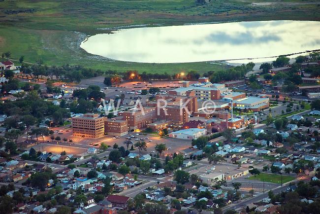 St Mary Corwin hospital, Pueblo, Colorado. Night aerial. Aug 29 2013.  82268