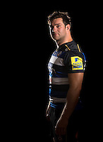 Nathan Catt poses for a portrait in the 2015/16 home kit during a Bath Rugby photocall on September 8, 2015 at Farleigh House in Bath, England. Photo by: Patrick Khachfe / Onside Images