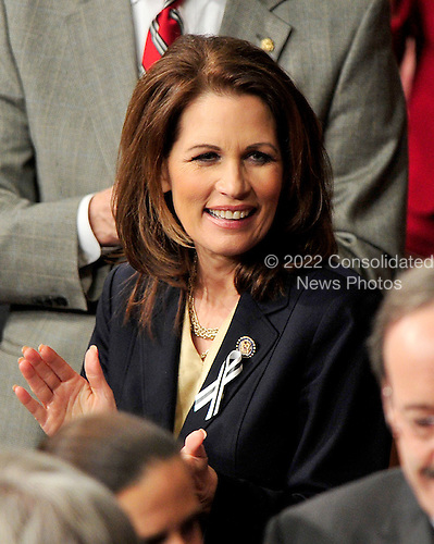 United States Representative Michelle Bachmann (Republican of Minnesota) prior to President Barack Obama delivering his State of the Union Address to a Joint Session of Congress in the U.S. Capitol in Washington, D.C. on Tuesday, January 25, 2011..Credit: Ron Sachs / CNP.(RESTRICTION: NO New York or New Jersey Newspapers or newspapers within a 75 mile radius of New York City)