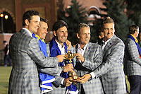 Winning European Team Captain Jose Maria Olazabal with Justin Rose, Lee Westwood, Luke Donald and Ian Poulter (ENG) after Sunday's Singles Matches of the 39th Ryder Cup at Medinah Country Club, Chicago, Illinois 30th September 2012 (Photo Colum Watts/www.golffile.ie)