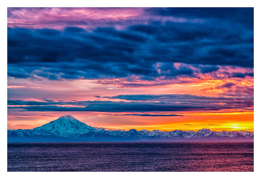 Sunset over Cook Inlet and Mount Redoubt