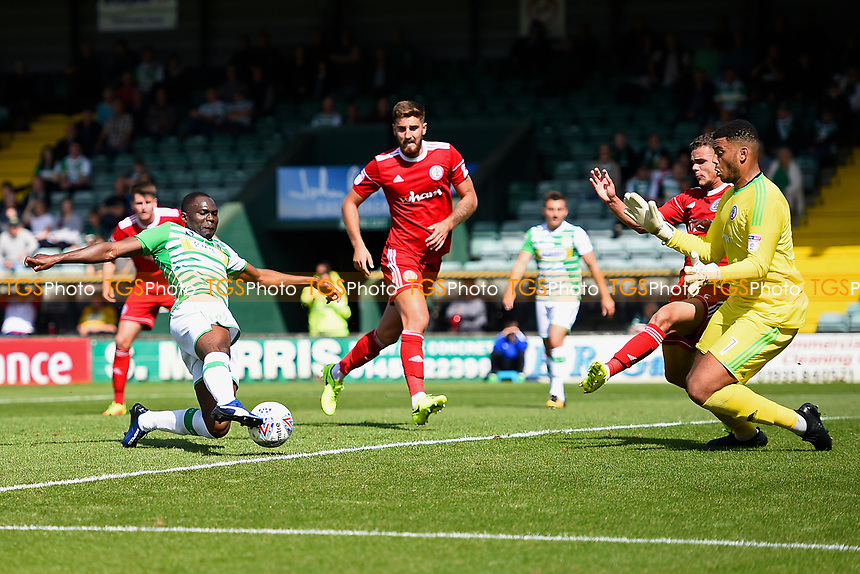 Francois Zoko of Yeovil Town shoots and scores the second goal during Yeovil Town vs Accrington Stanley, Sky Bet EFL League 2 Football at Huish Park on 12th August 2017