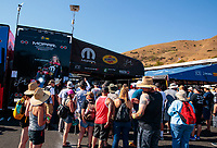Jul 28, 2019; Sonoma, CA, USA; Fans surround the pit area of NHRA top fuel driver Leah Pritchett during the Sonoma Nationals at Sonoma Raceway. Mandatory Credit: Mark J. Rebilas-USA TODAY Sports