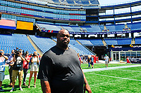 August 9, 2017: New England Patriot Vince Wilfork walks on the game field after his retirement announcement held at the Optum Field Lounge, in Gillette Stadium, in Foxborough, Mass. Wilfork signed a one day contract allowing him to retire from the NFL as a New England Patriot.