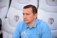 Kansas City, Kansas - Saturday April 16, 2016: FC Kansas City head coach Vlatko Andonovski before the game against the Western New York Flash at Children's Mercy Park.