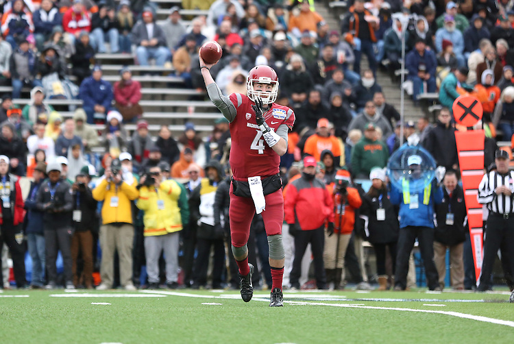 Luke Falk fires a pass during the Hyundai Sun Bowl game against the Miami Hurricanes in El Paso, Texas, on December 26, 2015.  In a game that could have been named the Snow Bowl instead of the Sun Bowl, WSU took a 20-7 lead in to halftime and then held off a Miami fourth quarter rally to win their first bowl game since the 2003 Holiday Bowl, 20-14.