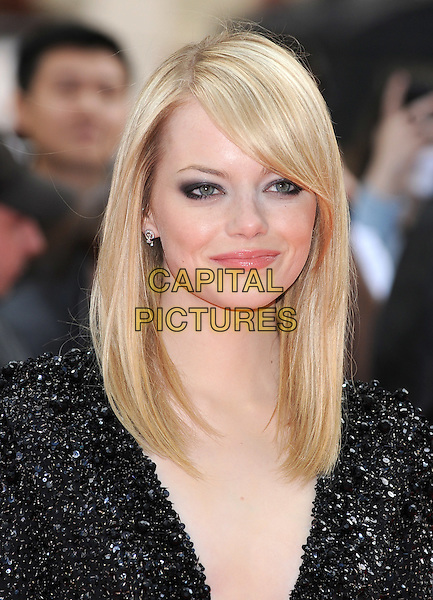 Emma Stone.'The Amazing Spider-Man' UK film premiere, Odeon Leicester Square cinema, London, England..June 18th, 2012.headshot portrait black beads beaded.CAP/BEL.©Tom Belcher/Capital Pictures.