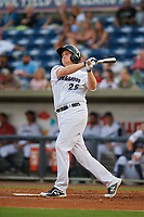 Pensacola Blue Wahoos Shrimp first baseman Gavin LaValley (25) follows through on a swing during a game against the Jacksonville Jumbo on August 15, 2018 at Blue Wahoos Stadium in Pensacola, Florida.  Jacksonville defeated Pensacola 9-2.  (Mike Janes/Four Seam Images)