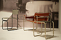 """""""Bauhaus: Art as Life"""", Barbican Art Gallery, 3 May - 12 August 2012, London, Britain. Exploring the world's most famous modern art and design school, Bauhaus: Art as Life is the biggest Bauhaus exhibition in the UK in over 40 years. Picture shows: Marcel Breuer's Tubular Steel Chair (1926), Club Chair (1925 - 26) and Canteen Stool (1926)."""