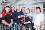 Betty Dennehy presents the Denis Dennehy memorial cup to Killarney Rugby club Player of the year Jer Allman in the Killarney Avenue Hotel on Friday night  l-r: Ger Moynihan Captain, Paul Murphy Chairman, Jer Allman, Aidan Dennehy,  Betty Dennehy, Shane Dennehy and Elaine O'Shea,