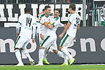 04.11.2018, Borussia Park , Moenchengladbach, GER, 1. FBL,  Borussia Moenchengladbach vs. Fortuna Duesseldorf,<br />  <br /> DFL regulations prohibit any use of photographs as image sequences and/or quasi-video<br /> <br /> im Bild / picture shows: <br /> die Gladbacher freuen sich &uuml;ber das tor Florian Neuhaus (Gladbach #32), Thorgan Hazard (Gladbach #10),  der Torschuetze Alassane Pl&eacute;a (Gladbach #14), Jonas Hofmann (Gladbach #23),   <br /> <br /> Foto &copy; nordphoto / Meuter