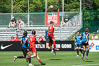 Kansas City, MO - Saturday May 13, 2017: Emily Sonnett, Brittany Ratcliffe during a regular season National Women's Soccer League (NWSL) match between FC Kansas City and the Portland Thorns FC at Children's Mercy Victory Field.