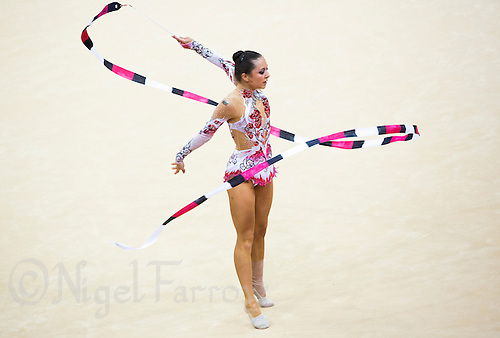 11 AUG 2012 - LONDON, GBR - Silviya Miteva (BUL) of Bulgaria performs her ribbon routine during the 2012 London Olympic Games Individual All-Around Rhythmic Gymnastics final at Wembley Arena in London, Great Britain (PHOTO (C) 2012 NIGEL FARROW)
