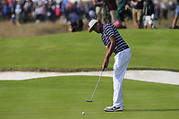 Tony Finau Team USA putts on the 18th green during Friday's Fourball Matches at the 2018 Ryder Cup, Le Golf National, Iles-de-France, France. 28/09/2018.<br /> Picture Eoin Clarke / Golffile.ie<br /> <br /> All photo usage must carry mandatory copyright credit (© Golffile | Eoin Clarke)