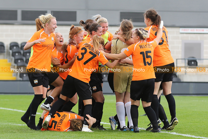London Bees celebrate after winning the penalty shoot-out to knock Chelsea out of the cup during London Bees vs Chelsea Ladies, FA WSL Continental Cup Football at the Hive Stadium on 2nd July 2016