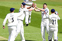 PICTURE BY ALEX WHITEHEAD/SWPIX.COM - Cricket - LV County Championship Match, Day 1 - Yorkshire vs Derbyshire - Headingley, Leeds, England - 29/04/13 - Yorkshire's Tim Bresnan celebrates with team-mates the wicket of Derbyshire's Billy Godleman.