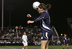 04 December 2009: Notre Dame's Molly Campbell heads the ball. The University of North Carolina Tar Heels defeated the Notre Dame University Fighting Irish 1-0 at the Aggie Soccer Complex in College Station, Texas in an NCAA Division I Women's College Cup Semifinal game.
