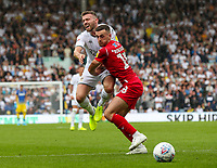 Nottingham Forest's Jack Robinson checks the run of Leeds United's Stuart Dallas<br /> <br /> Photographer Alex Dodd/CameraSport<br /> <br /> The EFL Sky Bet Championship - Leeds United v Nottingham Forest - Saturday 10th August 2019 - Elland Road - Leeds<br /> <br /> World Copyright © 2019 CameraSport. All rights reserved. 43 Linden Ave. Countesthorpe. Leicester. England. LE8 5PG - Tel: +44 (0) 116 277 4147 - admin@camerasport.com - www.camerasport.com