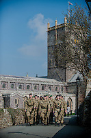 Wednesday 26 March 2014<br /> Pictured: Troops ( not 236 Signal Squadron ) make their way past St.Davids Cathedral <br /> Re: 236 Signal Squadron ( part of 14 Signal regiment who are based at Cawdor Barracks in Brawdy Parade through the streets of  St.Davids Pembrokeshire led by Haverfordwest Air Training Corps Band and are then Presented with medals