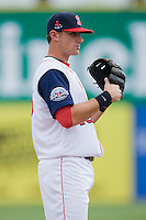 Third baseman Will Middlebrooks #16 of the Salem Red Sox on defense against the Kinston Indians at Lewis-Gale Field May 2, 2010, in Winston-Salem, North Carolina.  Photo by Brian Westerholt / Four Seam Images