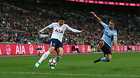 Tottenham Hotspur's Son Heung-Min and Newcastle United's Florian Lejeune <br /> <br /> Photographer Rob Newell/CameraSport<br /> <br /> The Premier League - Tottenham Hotspur v Newcastle United - Wednesday 9th May 2018 - Wembley Stadium - London<br /> <br /> World Copyright &copy; 2018 CameraSport. All rights reserved. 43 Linden Ave. Countesthorpe. Leicester. England. LE8 5PG - Tel: +44 (0) 116 277 4147 - admin@camerasport.com - www.camerasport.com