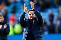 1st February 2020; King Power Stadium, Leicester, Midlands, England; English Premier League Football, Leicester City versus Chelsea; Chelsea Head Coach Frank Lampard applauds his team's travelling fans after the final whistle