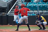 Casey Schmitt (8) of the San Diego State Aztecs at bat against the UNCG Spartans at Springs Brooks Stadium on February 16, 2020 in Conway, South Carolina. The Spartans defeated the Aztecs 11-4.  (Brian Westerholt/Four Seam Images)