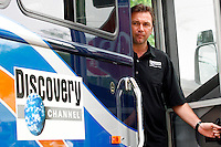 Johan Bruyneel, directeur sportif of the Discovery Channel Pro Cycling Team, looks out of the team bus before Stage 2 of the 2006 Ford Tour de Georgia pro cycling race. Yaroslav Popovych, a Discovery Channel Pro Cycling Team racer from Ukraine, won the 116.1-mile stage from Fayetteville to Rome in 4:47:39.<br />