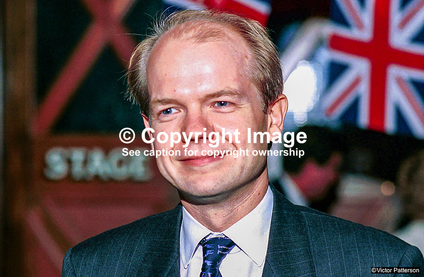 William Hague, MP, Conservative Party, Britain, UK. Taken at 1995 Conservative Conference in Blackpool. Ref: 199510033..Copyright Image from Victor Patterson, 54 Dorchester Park, Belfast, UK, BT9 6RJ..Tel: +44 28 9066 1296.Mob: +44 7802 353836.Voicemail +44 20 8816 7153.Skype: victorpattersonbelfast.Email: victorpatterson@mac.com.Email: victorpatterson@ireland.com (back-up)..IMPORTANT: If you wish to use this image or any other of my images please go to www.victorpatterson.com and click on the Terms & Conditions. Then contact me by email or phone with the reference number(s) of the image(s) concerned.