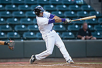 Nick Basto (21) of the Winston-Salem Dash blasts a three-run home run against the Lynchburg Hillcats at BB&T Ballpark on April 28, 2016 in Winston-Salem, North Carolina.  The Dash defeated the Hillcats 4-1.  (Brian Westerholt/Four Seam Images)