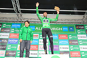 8th September 2017, Newmarket, England; OVO Energy Tour of Britain Cycling; Stage 6, Newmarket to Aldeburgh; Lars BOOM (NED) waves to the crowd as he maintains the green jersey