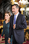 Queen Letizia of Spain and King Felipe VI of Spain attend Spain's National Day Royal Reception at Royal Palace on October 12, 2014 in Madrid, Spain. October 12 ,2014. (ALTERPHOTOS/Pool)