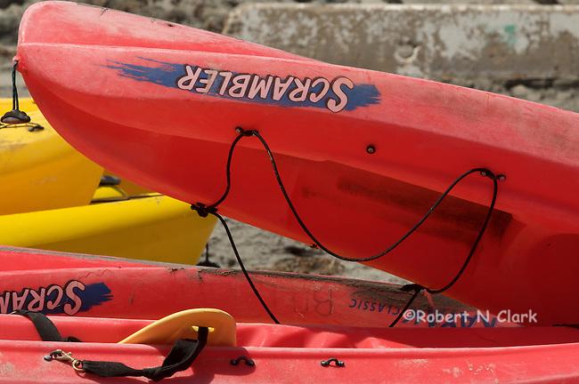 Kayaks in the rack