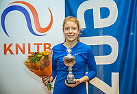 Hilversum, Netherlands, December 3, 2017, Winter Youth Circuit Masters, 12,14,and 16, years, prizegiving 16 years<br /> , winner girls : Eniek van den Broek.  <br /> Photo: Tennisimages/Henk Koster