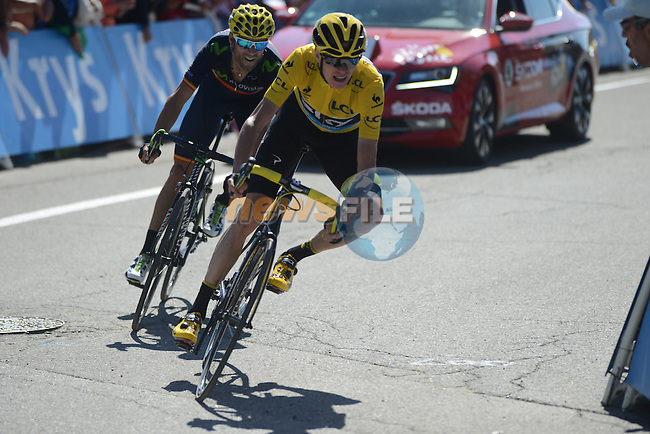 Christopher Froome (GBR) Team Sky and Alejandro Valverde (ESP) Movistar head for the finish line at the end of Stage 20 of the 2015 Tour de France running 110.5km from Modane Valfrejus to Alpe d'Huez, France. 25th July 2015.<br /> Photo: ASO/X.Bourgois/Newsfile