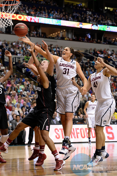 06 Apr 2014:  University of Connecticut center Stafanie Dolson (31) fights for the rebound during the 2014 Division I Women's Final Four in Nashville, TN. Connecticut defeated Stanford 75-56 to move on to the National Championship.  Jamie Schwaberow/NCAA Photos