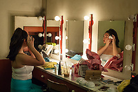 Oxy students relax and prepare behind the scenes at their final Dance Pro rehearsal, March 16, 2017.<br /> <br /> (Photo by Nick Harrington, Occidental College Class of 2017)