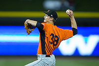 Frederick Keys starting pitcher Matthew Grimes (38) in action against the Winston-Salem Dash at BB&T Ballpark on May 24, 2016 in Winston-Salem, North Carolina.  The Keys defeated the Dash 7-1.  (Brian Westerholt/Four Seam Images)