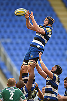 Paul Grant of Bath Rugby rises high to win lineout ball. Aviva Premiership match, between London Irish and Bath Rugby on November 19, 2017 at the Madejski Stadium in Reading, England. Photo by: Patrick Khachfe / Onside Images
