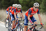 The peloton including Bahrain Merida team in action during Stage 17 of the 2017 La Vuelta, running 180.5km from Villadiego to Los Machucos. Monumento Vaca Pasiega, Spain. 6th September 2017.<br /> Picture: Unipublic/&copy;photogomezsport | Cyclefile<br /> <br /> <br /> All photos usage must carry mandatory copyright credit (&copy; Cyclefile | Unipublic/&copy;photogomezsport)