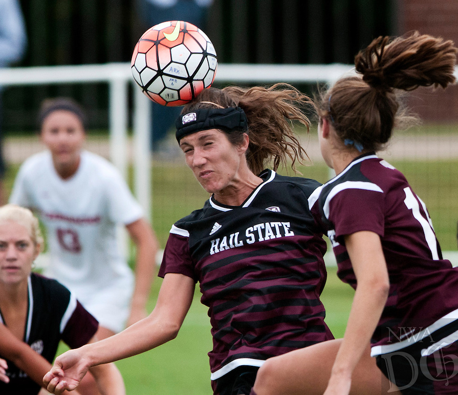 NWA Democrat-Gazette/BEN GOFF @NWABENGOFF<br /> Katelyn Watson of Mississippi State makes a header on Sunday Sept. 20, 2015 during the match at Razorback Field in Fayetteville.