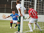 Lee McCulloch sneaks in at the far post to score the opener for Rangers