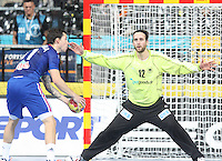 18.01.2013 Barcelona, Spain. IHF men's world championship, prelimanary round. Picture show Samuel Honrubia  and Silvio Heinevetter  in action during game between France vs Germany at Palau St Jordi