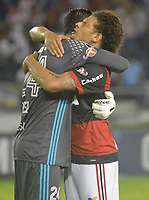 BARRANQUIILLA - COLOMBIA, 30-11-2017:Cesar y Williamarao jugadores del Flamengo de Brasil celebran la victoria de su equipo contra el  Atlético Junior de Colombia y su paso ala final durante partido de vuelta por la semifinal 2 de la Copa CONMEBOL Sudamericana 2017  jugado en el estadio Metropolitano Roberto Meléndez de la ciudad de Barranquilla. / Cesar and Williamarao players of Flamengo of Brazil celebrate the victory of his team against Atletico Junior of Colombia and his classification to the final during the second leg of the CONMEBOL South American Cup 2017 played at the Roberto Meléndez Metropolitan Stadium in the city of Barranquillacity.  Photo: VizzorImage/ Alfonso Cervantes / Cont