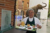 Europe/France/Midi-Pyrénées/31/Haute-Garonne/Toulouse:  Gérard Garrigues dans son restaurant; Le  Moaï au Musée  d'Histoire Naturelle