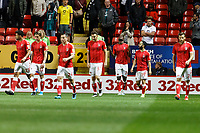 Jonathan Leko of Charlton celebrates his goal during the Sky Bet Championship match between Charlton Athletic and Swansea City at The Valley, London, England, UK. Wednesday 02 October 2019