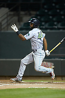 Wilbis Santiago (44) of the Lynchburg Hillcats follows through on his swing against the Winston-Salem Dash at BB&T Ballpark on May 9, 2019 in Winston-Salem, North Carolina. The Dash defeated the Hillcats 4-1. (Brian Westerholt/Four Seam Images)
